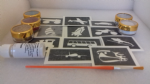 Transport themed glitter tattoo set including 30 stencils + glitter + glue  planes  trains  boat helicopter